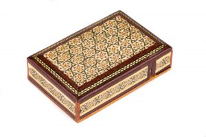 جعبه شیک سکه چوبی هدیه زیبا خاتم کاری اصفهان