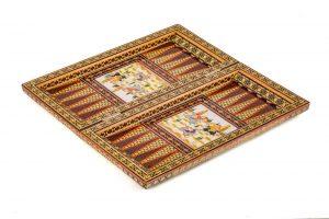 تخته نرد خاتم کاری شده خرید اصفهان چوب گردو و راش