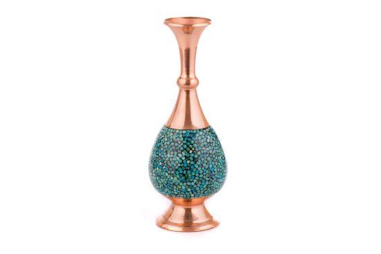 گلدان مسی فیروزه کوب کار شده زیبا و دکوری اصفهان