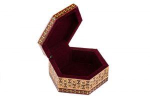 جعبه جواهرات خاتم کاری شده زیبا صنایع دستی اصفهان
