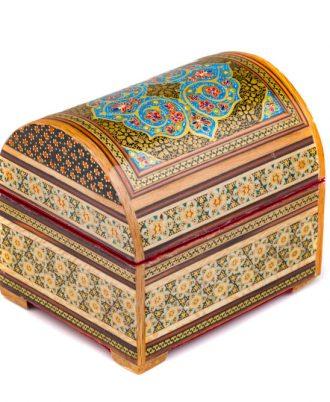 صندوقچه چوبی هدیه صنایع دستی اصفهان کوچک طرح سنتی
