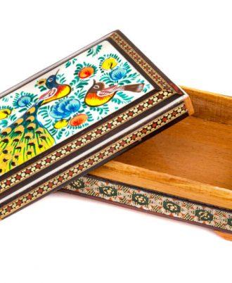 جعبه خاتم کاری شده سکه در اصفهان طرح گل و مرغ