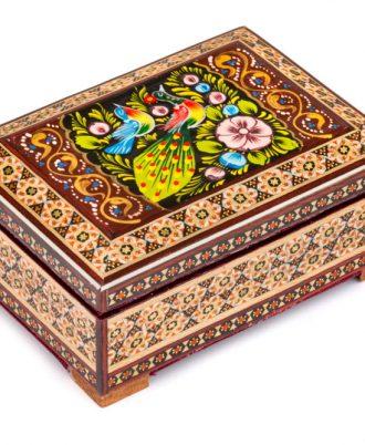 جعبه جواهرات دست ساز چوبی تزئینی شیک و لوکس