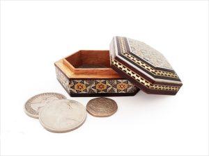 جعبه سکه خاتم کاری شده صنایع دستی اصفهان