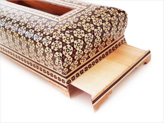 جا دستمال کاغذی خاتم کاری شده چوبی شیک و دست ساز